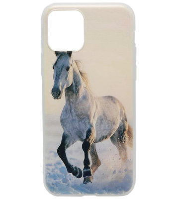 ADEL Siliconen Back Cover hoesje voor iPhone 11 - Wit Paard