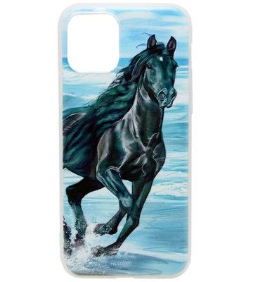 ADEL Siliconen Back Cover hoesje voor iPhone 11 Pro - Zwart Paard