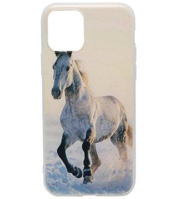 ADEL Siliconen Back Cover hoesje voor iPhone 11 Pro - Wit Paard
