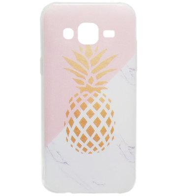 ADEL Siliconen Back Cover Hoesje voor Samsung Galaxy J7 (2015) - Gouden Ananas