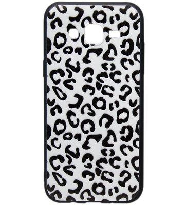 ADEL Siliconen Back Cover Hoesje voor Samsung Galaxy J7 (2015) - Luipaard Wit