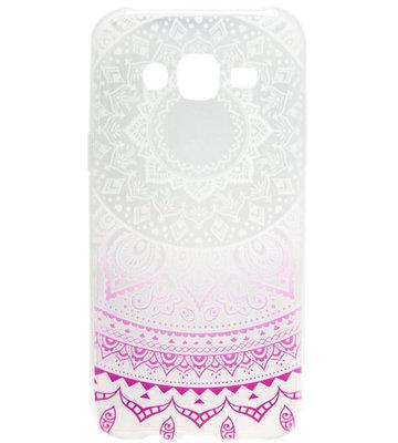 ADEL Siliconen Back Cover Hoesje voor Samsung Galaxy J7 (2015) - Mandala Bloem
