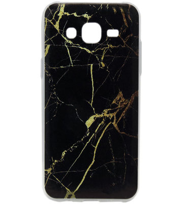 ADEL Siliconen Back Cover Hoesje voor Samsung Galaxy J7 (2015) - Marmer Zwart