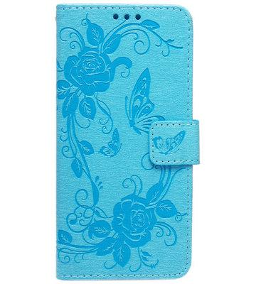 ADEL Kunstleren Book Case Hoesje voor Samsung Galaxy J7 (2015) - Vlinder Blauw