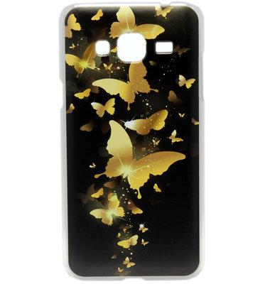 ADEL Kunststof Hardcase Back Cover hoesje voor Samsung Galaxy J3 (2015)/ J3 (2016) - Vlinder Goud