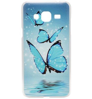 ADEL Kunststof Hardcase Back Cover hoesje voor Samsung Galaxy J3 (2015)/ J3 (2016) - Vlinder Blauw