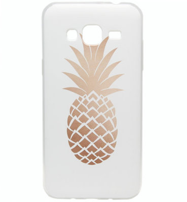 ADEL Siliconen Softcase Back Cover hoesje voor Samsung Galaxy J3 (2015)/ J3 (2016) - Ananas Goud