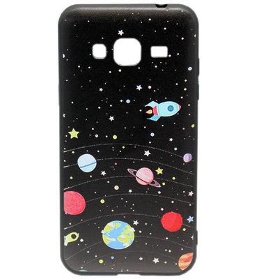 ADEL Siliconen Softcase Back Cover hoesje voor Samsung Galaxy J3 (2015)/ J3 (2016) - Universum Heelal
