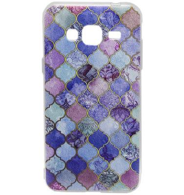 ADEL Siliconen Softcase Back Cover hoesje voor Samsung Galaxy J3 (2015)/ J3 (2016) - Marmer Scrub Blauw