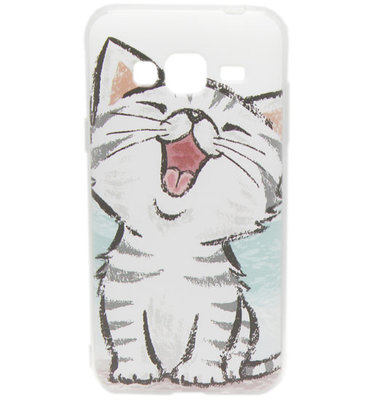 ADEL Siliconen Softcase Back Cover hoesje voor Samsung Galaxy J3 (2015)/ J3 (2016) - lieve Kat