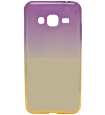 ADEL Siliconen Softcase Back Cover hoesje voor Samsung Galaxy J3 (2015)/ J3 (2016) - Kleurenovergang Paars en Geel