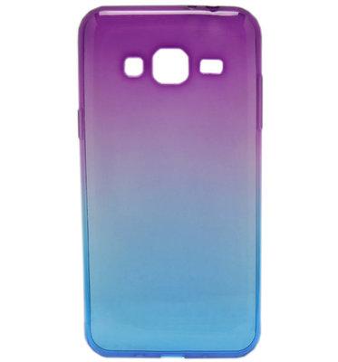 ADEL Siliconen Softcase Back Cover hoesje voor Samsung Galaxy J3 (2015)/ J3 (2016) - Kleurenovergang Paars en Blauw