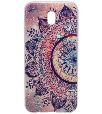 ADEL Siliconen Back Cover Softcase Hoesje voor Samsung Galaxy J7 (2017) - Mandala Bloemen Rood