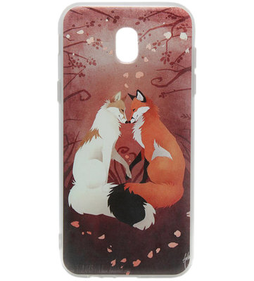 ADEL Siliconen Back Cover Softcase Hoesje voor Samsung Galaxy J7 (2017) - Vossen Familie