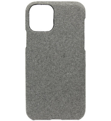 ADEL Kunststof Back Cover Hardcase hoesje voor iPhone 11 - Stoffen Design Grijs