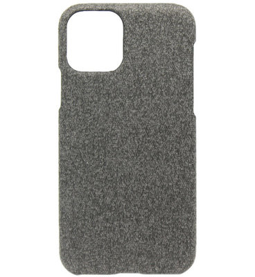 ADEL Kunststof Back Cover Hardcase hoesje voor iPhone 11 Pro - Stoffen Design Donkergrijs