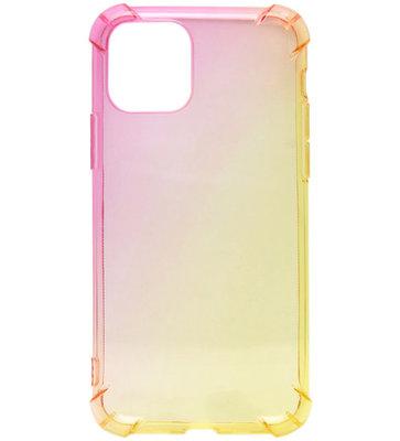 ADEL Siliconen Back Cover Softcase hoesje voor iPhone 11 Pro Max - Kleurovergang Roze en Geel