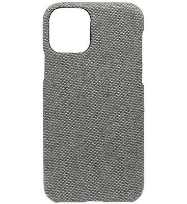 ADEL Kunststof Back Cover Hardcase hoesje voor iPhone 11 Pro Max - Stoffen Design Grijs