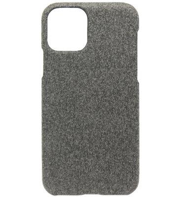 ADEL Kunststof Back Cover Hardcase hoesje voor iPhone 11 Pro Max - Stoffen Design Donkergrijs