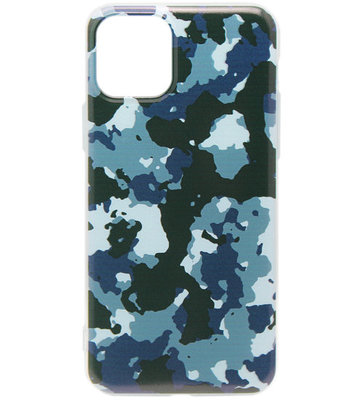 ADEL Siliconen Back Cover Softcase hoesje voor iPhone 11 Pro Max - Camouflage Blauw