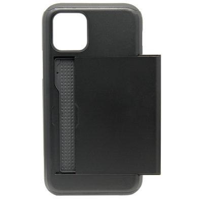 ADEL Kunststof Back Cover Hardcase hoesje voor iPhone 11 Pro Max - Pasjeshouder Zwart