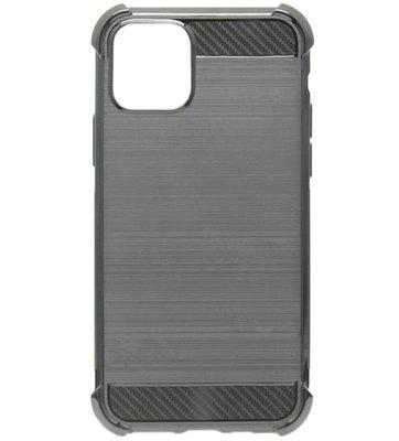 ADEL Siliconen Back Cover Softcase hoesje voor iPhone 11 Pro Max - Gestreept Zwart