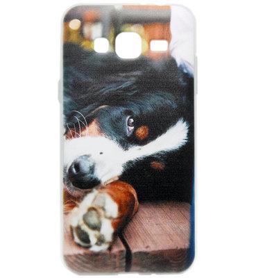 ADEL Siliconen Back Cover Softcase hoesje voor Samsung Galaxy J3 (2015)/ J3 (2016) - Berner Sennenhond