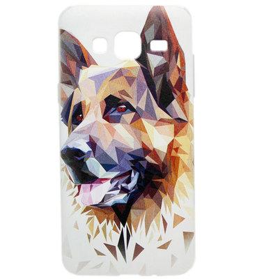 ADEL Siliconen Back Cover Softcase hoesje voor Samsung Galaxy J3 (2015)/ J3 (2016) - Duitse Herder