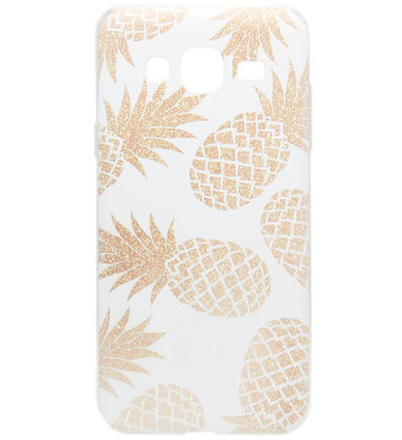 ADEL Siliconen Back Cover Softcase hoesje voor Samsung Galaxy J3 (2015)/ J3 (2016) - Ananas Goud