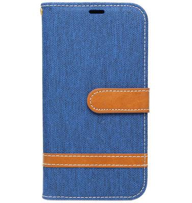 ADEL Kunstleren Book Case hoesje voor Samsung Galaxy J3 (2015)/ J3 (2016) - Stoffen Design Blauw