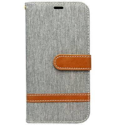 ADEL Kunstleren Book Case hoesje voor Samsung Galaxy J3 (2015)/ J3 (2016) - Stoffen Design Grijs