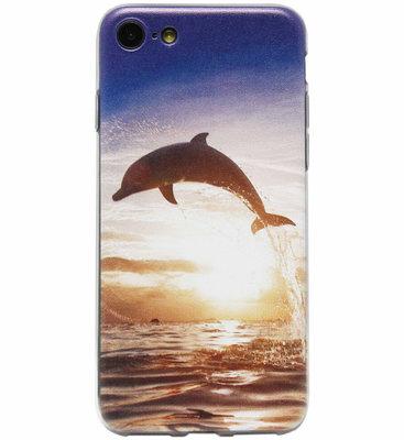 ADEL Siliconen Back Cover Softcase Hoesje voor iPhone SE (2020)/ 8/ 7 - Dolfijn