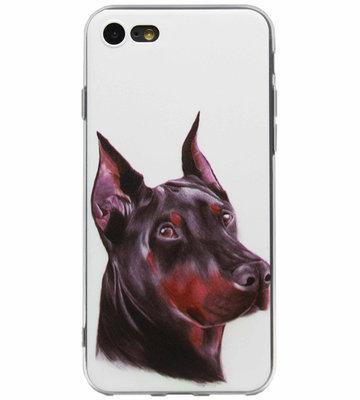 ADEL Siliconen Back Cover Softcase Hoesje voor iPhone SE (2020)/ 8/ 7 - Dobermann Pinscher Hond