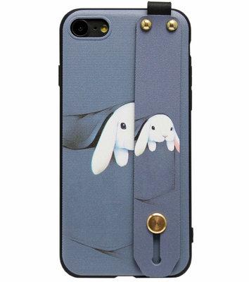 ADEL Siliconen Back Cover Softcase Hoesje voor iPhone SE (2020)/ 8/ 7 - Konijn