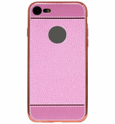 ADEL Kunstleren Back Cover Hoesje voor iPhone SE (2020)/ 8/ 7 - Roze