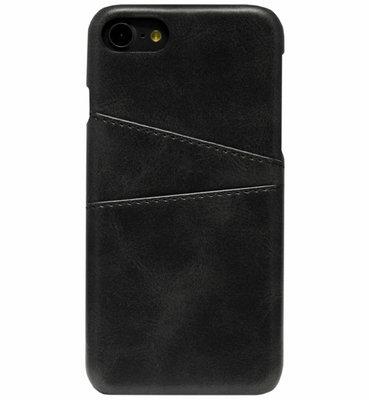 ADEL Kunstleren Back Cover Hoesje voor iPhone SE (2020)/ 8/ 7 - Pasjeshouder Zwart