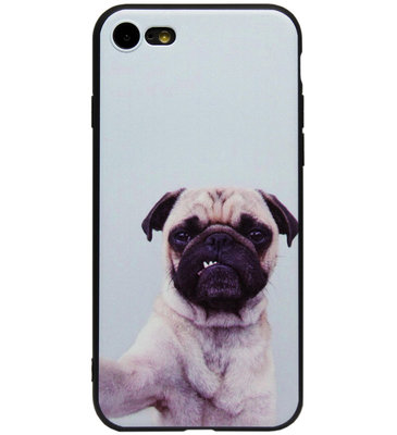 ADEL Siliconen Back Cover Softcase Hoesje voor iPhone SE (2020)/ 8/ 7 - Bulldog Hond