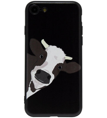 ADEL Siliconen Back Cover Softcase Hoesje voor iPhone SE (2020)/ 8/ 7 - Koe