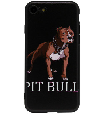 ADEL Siliconen Back Cover Softcase Hoesje voor iPhone SE (2020)/ 8/ 7 - Pitbull Hond