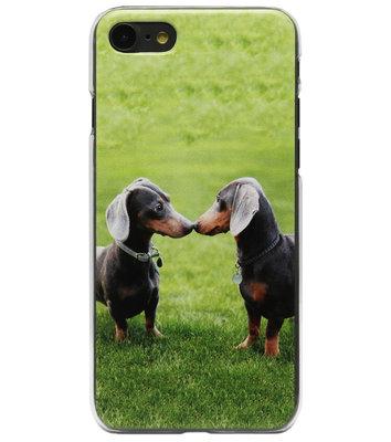 ADEL Kunststof Back Cover Hardcase Hoesje voor iPhone SE (2020)/ 8/ 7 - Teckel Honden