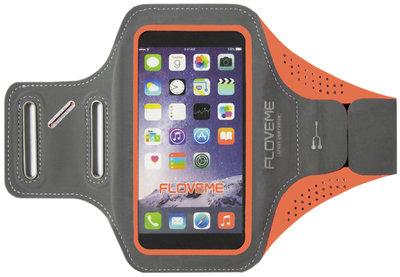 FLOVEME Sportarmband 5.5 Inch Microfiber Hoesje voor Samsung Galaxy S5 (Plus)/ S5 Neo/ S6 (Edge)/ S7 (Edge)/ S8 (Plus)/ S9 (Plus)/ S10 (Plus)/ S10 Lite - Oranje