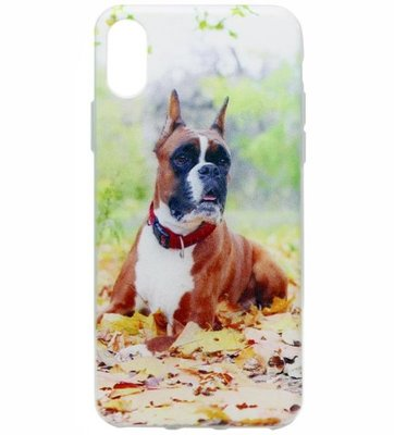 ADEL Siliconen Back Cover Softcase Hoesje voor iPhone XS/X - Boxer Hond