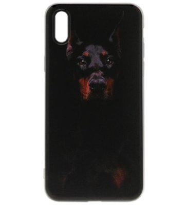 ADEL Siliconen Back Cover Softcase Hoesje voor iPhone XS/X - Dobermann Pinscher Hond