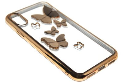 ADEL Siliconen Back Cover Hoesje voor iPhone XS/X - Glimmende Vlinders Goud