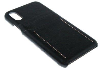 ADEL Kunstleren Back Cover Hoesje voor iPhone XS/X - Pasjeshouder Zwart