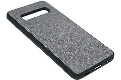 ADEL Siliconen Back Cover Hoesje voor Samsung Galaxy S10 - Stoffen Design Grijs