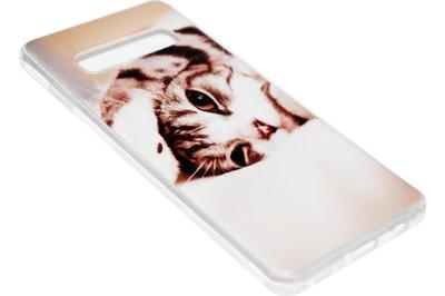 ADEL Siliconen Back Cover Hoesje voor Samsung Galaxy S10 - Schattige Kat