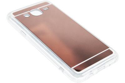 ADEL Siliconen Back Cover Hoesje voor Samsung Galaxy J7 (2015) - Glimmende Spiegel Beige