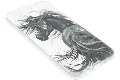 ADEL Siliconen Back Cover Hoesje voor Samsung Galaxy J7 (2015) - Paard met Veren