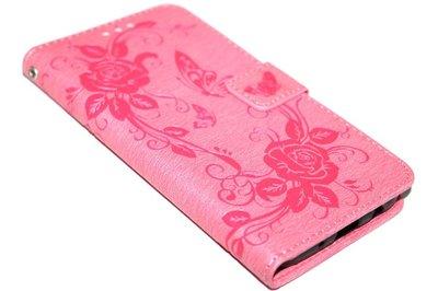 ADEL Kunstleren Book Case Hoesje voor Samsung Galaxy J7 (2017) - Roze Vlinders